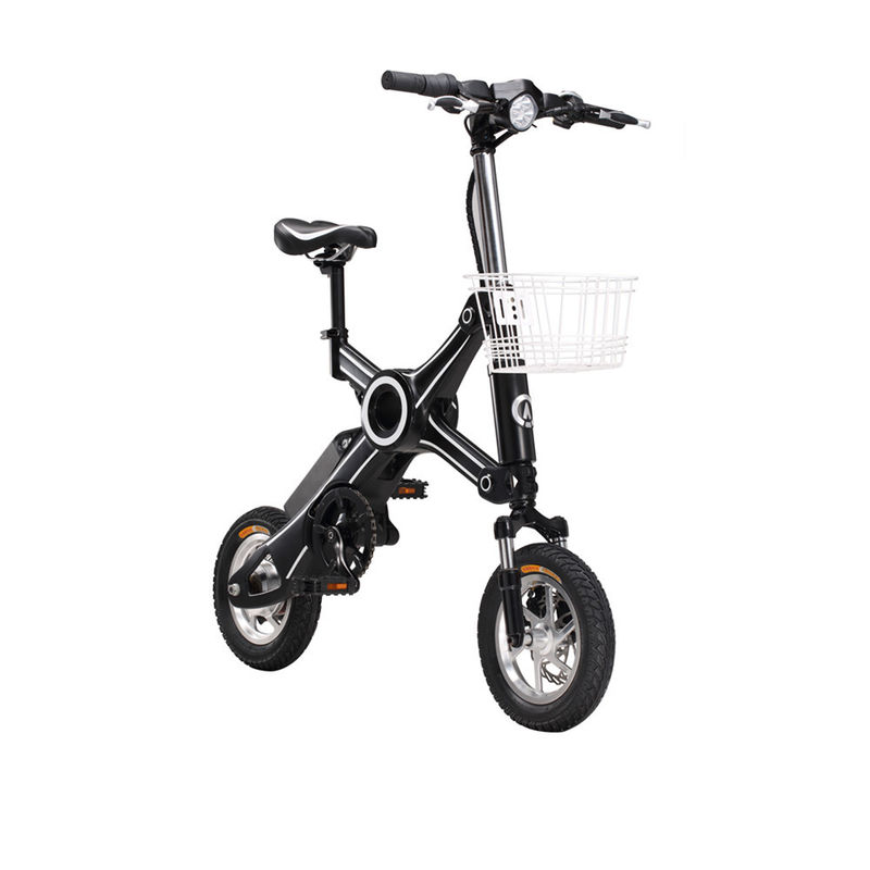 Adult 350W 2 Wheel Black / White Foldable Electric Scooter / Bicycle With Seat